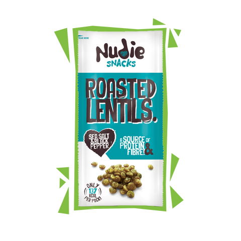 Nudie Snacks Roasted Lentils Sea Salt and Black Pepper product packet with green outline