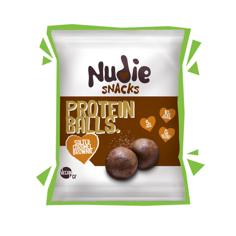 Nudie Snacks Salted Caramel Brownie Vegan Energy Balls Product Packet With a green outline.