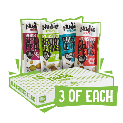 Green and White Nudie Snack Box Surrounded By Four Roasted Pulses Vegan Snack Packets Standing Upright.