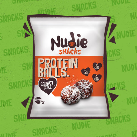 Nudie Snacks Carrot Cake Plant Based Protein Balls Packet with a brown outline on a green background.