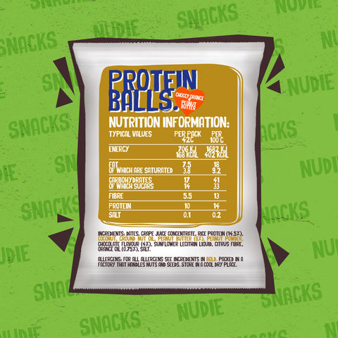 Back of Nudie Snacks Vegan Chocolate Orange and Peanut Butter Protein Balls Which Highlights Nutritional Information and ingredients.