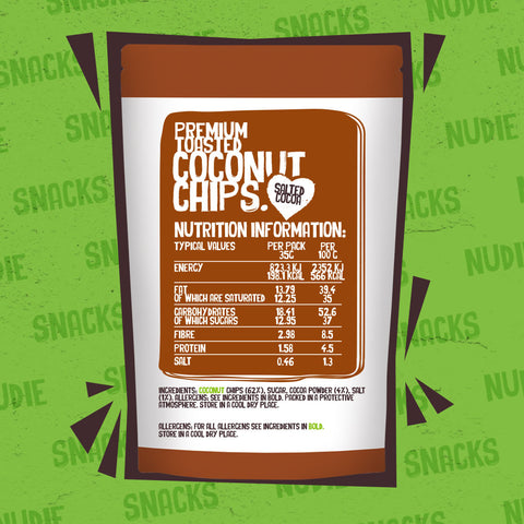 Back of Nudie Snacks Chocolate Toasted Coconut Chips Packet Highlighting Nutritional Information.