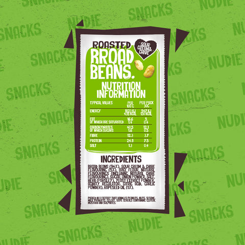 Back of Nudie Snacks Roasted Broad Beans Sour Cream and Chive Plant Based Snacks Packet, Which Highlights Nutritional Information and Ingredients.
