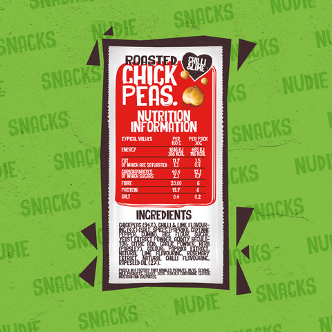 Back of Nudie Snacks Dry Roasted Chickpeas Chilli and lime Packet Which Highlights Nutritional information and Ingredients.
