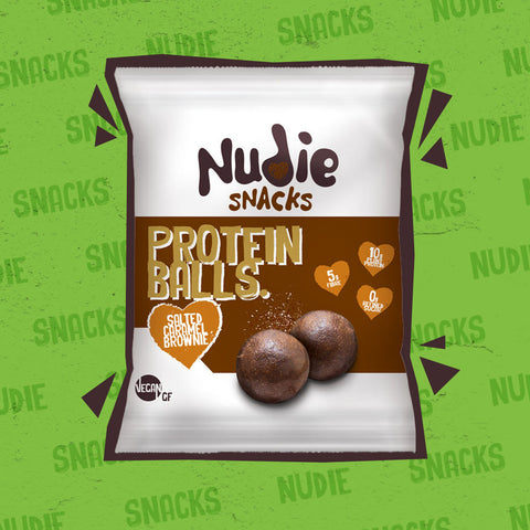 Nudie Snacks Salted Caramel Brownie Plant Based Protein Balls Product Packet With a brown outline on a green background.