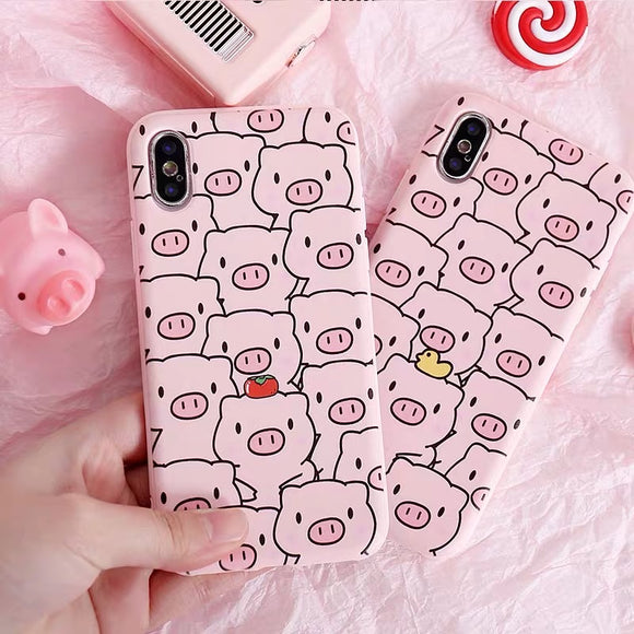 Kawaii Pig Collage iPhone Cover