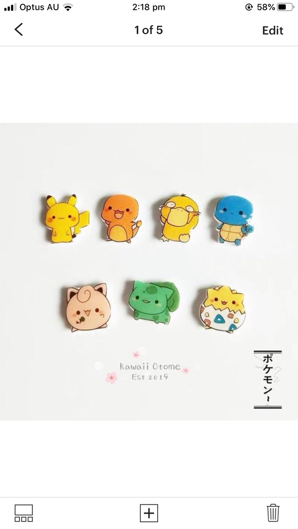 Handmade Cute Pokemon Anime Earrings Studs