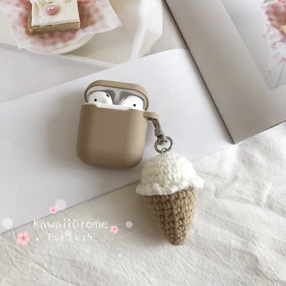 Knitted Airpods Case and Charm Icecream Cone
