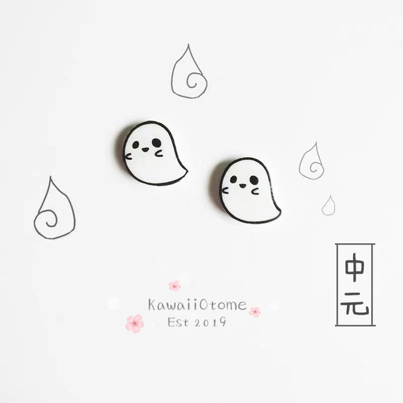 Cute Anime Chibi Black and White Ghosts Earrings Studs