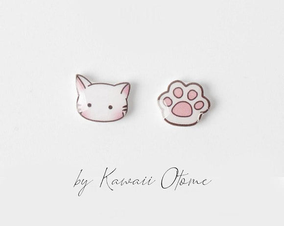 Kawaii Neko Nyan Cat and Paw Sterling Silver Earring Studs