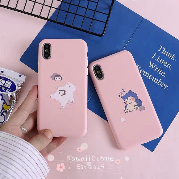 Cute Snorlax and Friends Silicone iPhone Cover