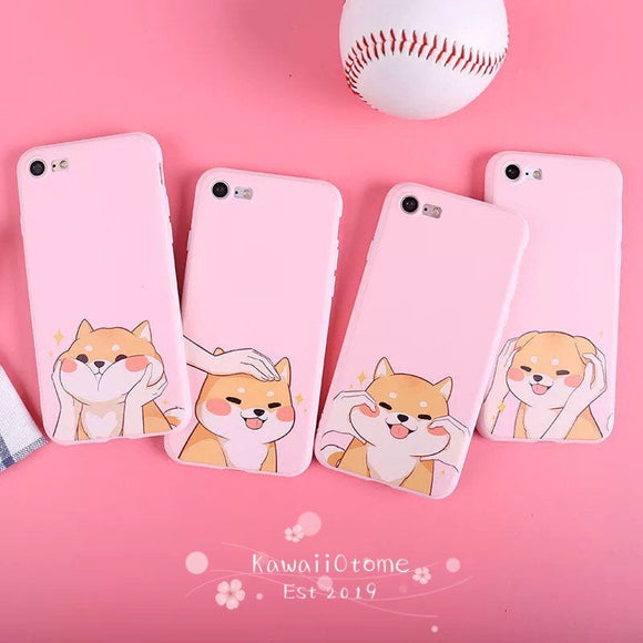 Happy Shiba Inu Puppy Dogs Silicone iPhone Case