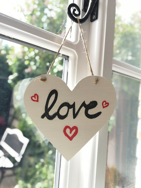 Decoupaged Hanging hearts - Medium