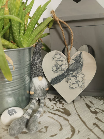Decoupaged Hanging hearts - small