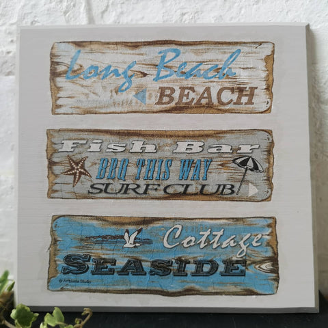 Decoupaged Beach Plaque