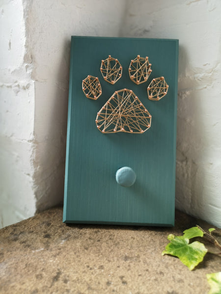 Dog Paw String picture with wooden peg