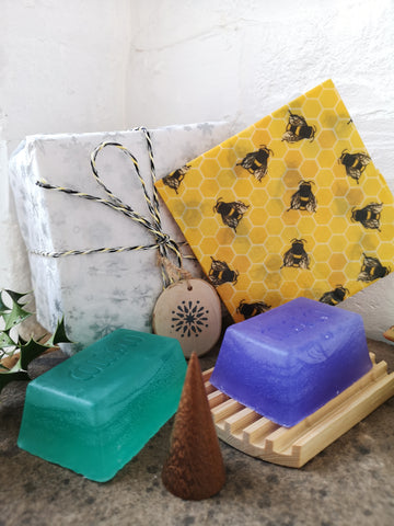 Gift Set - Wooden Soap stand, soaps & Wax wrap