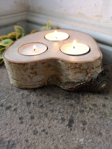 Birch Bark Tealight - Triple