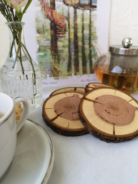 Bark Coasters - natural wood
