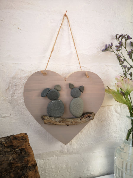 Hanging heart with Pebble critters