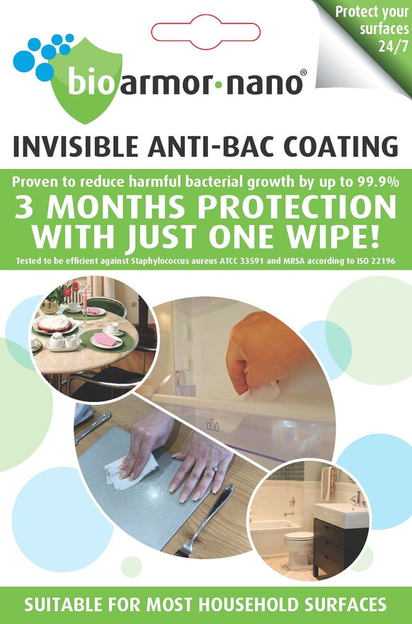 Bioarmor-Nano™ ANTIBAC - invisible tough antibacterial protective coating for important HOME surfaces. Works on Tile, Marble, Stone. Plastic, Tile, Glass, Porcelain & varnished wood interior surfaces. - Bioarmor Nano