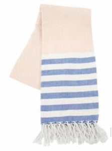 Blue & Cream Striped Turkish Towel