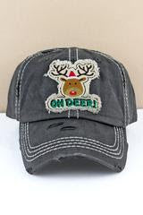 Distressed Black 'Oh Deer!' Rudolph Cap