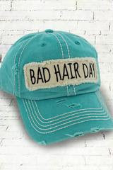 Distressed Teal 'Bad Hair Day' Cap