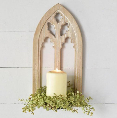 Wooden Chapel Candle Holder