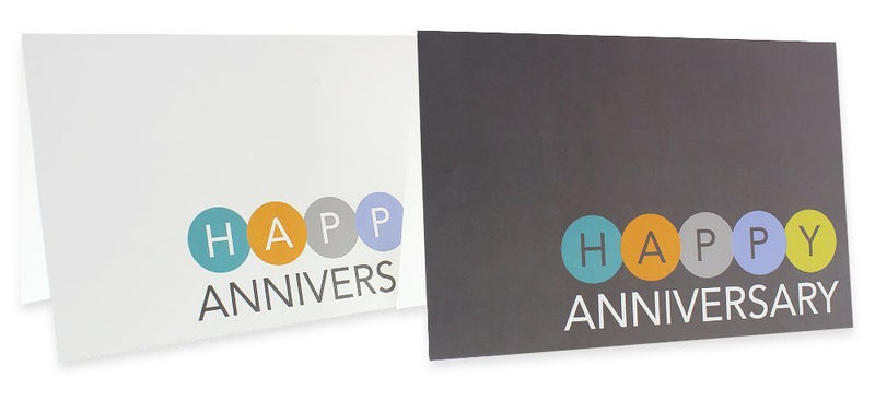 36 Pack Happy Anniversary Greeting Cards, 6 Modern Multi Color Embellished Style Designs, Bulk Box Set Variety Assortment, Envelopes Included, 4 x 6 Inches