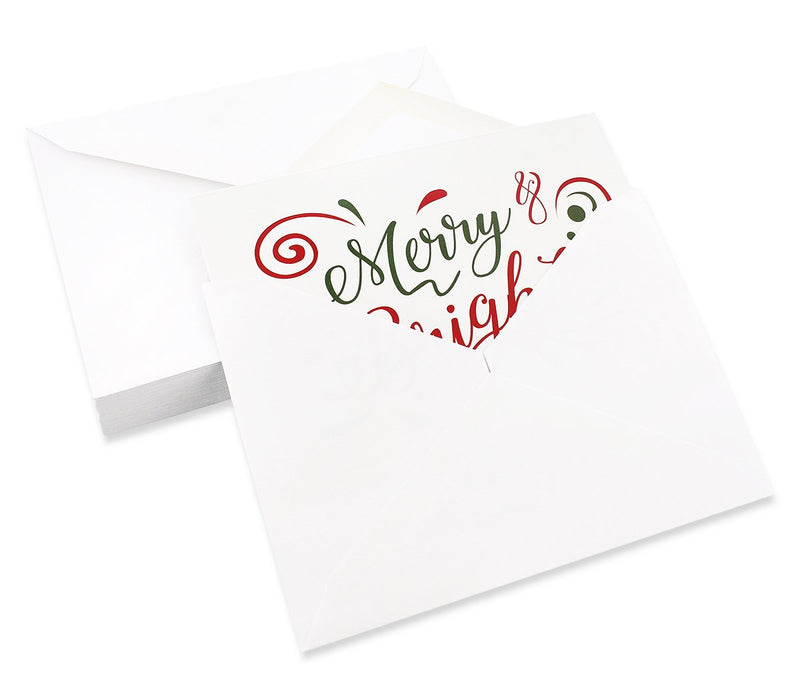 48 Pack of Christmas Winter Holiday Family Greeting Cards - Assorted Christmas Greetings Red Green Design - Boxed with 48 Count White Envelopes Included - 4.5 x 6.25 Inches