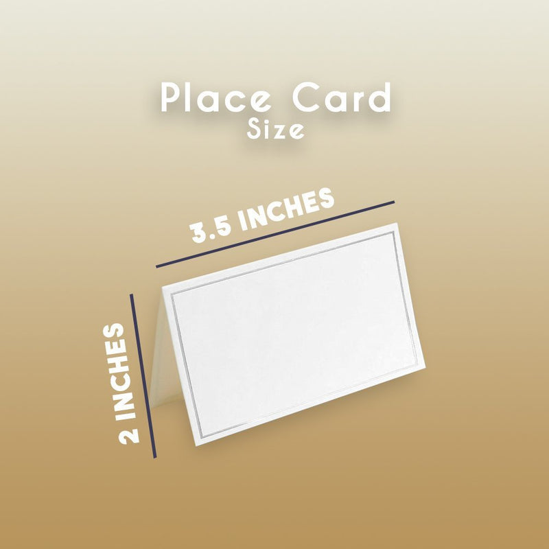 Pack of 100 Place Cards - Small Tent Cards, Foldover Table Placecards Silver Foil Border - Perfect Weddings, Banquets, Events, 2 x 3.5 inches