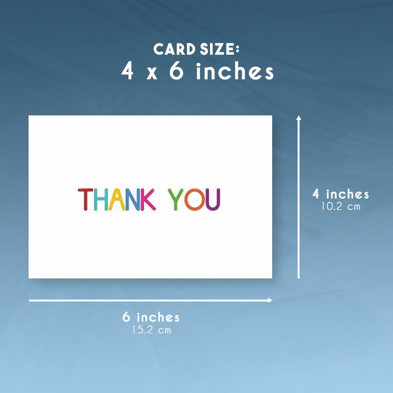 Juvale Thank You Cards - 48-Count Thank You Notes, Bulk Thank You Cards Set - Blank on The Inside, 6 Colorful Rainbow Font Designs - Includes Thank You Cards and Envelopes, 4 x 6 Inches