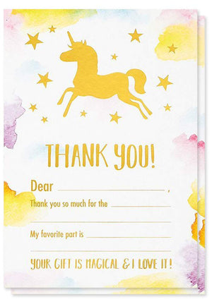 Thank You Cards - 50-Count Thank You Notes, Bulk Thank You Cards Set - Blank on The Inside, Unicorn Designs - Includes Thank You Cards and Envelopes, 4 x 6 inches