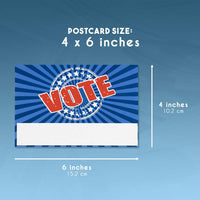 Vote Postcards - 120-Pack Postcards for Voters, Get Out the Vote Cards, Write Representatives, Election Accessories, Americana Theme, Patriotic Red White Blue Design,