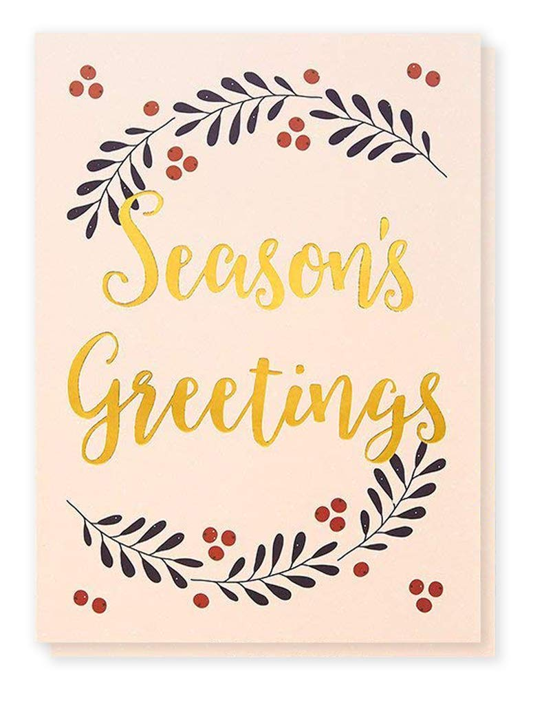 36-Pack Merry Christmas Greeting Cards Bulk Box Set - Winter Holiday Xmas Greeting Cards with Season's Greetings Typographic Design and Gold Foil Accents, Envelopes Included, 5 x 7 Inches