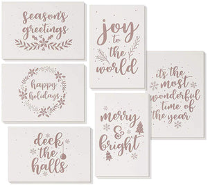 36-Pack Merry Christmas Holiday Greeting Card - Happy Holidays Xmas Cards in 6 Rose Gold Foil Designs, Bulk Assorted Festive Winter Holiday Cards with Premium Foil Lined Envelopes, 4 x 6 Inches