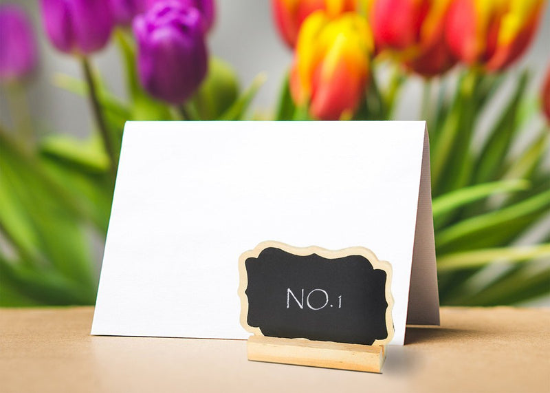 Set of 12 Mini Chalkboard Signs Stand - Chalkboard Place Cards Message Board Weddings, Table Top Numbers, Food Signs, Kids' Crafts Event Decoration, 3.5 x 2.25 x 0.63 inches