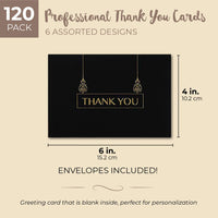 Sustainable Greetings 120-Pack Thank You Greeting Cards with Envelopes, Black with Gold Foil, 4 x 6 Inches