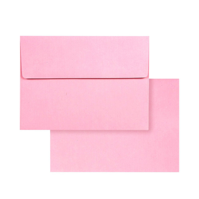 100 Pack Pastel Pink Color A7 Envelopes for 5 x 7 Greeting Cards and Invitation Announcements - Value Pack Square Flap Envelopes - 5.25 x 7.25 Inches - 100 Count