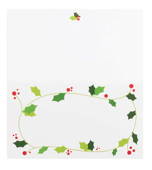 Place Cards - 100-Pack Christmas Small Tent Cards, Foldover Table Placecards, Table Setting Seat Assignment Deocration for Holiday Lunch and Dinner Parties, Christmas Wreath Design,