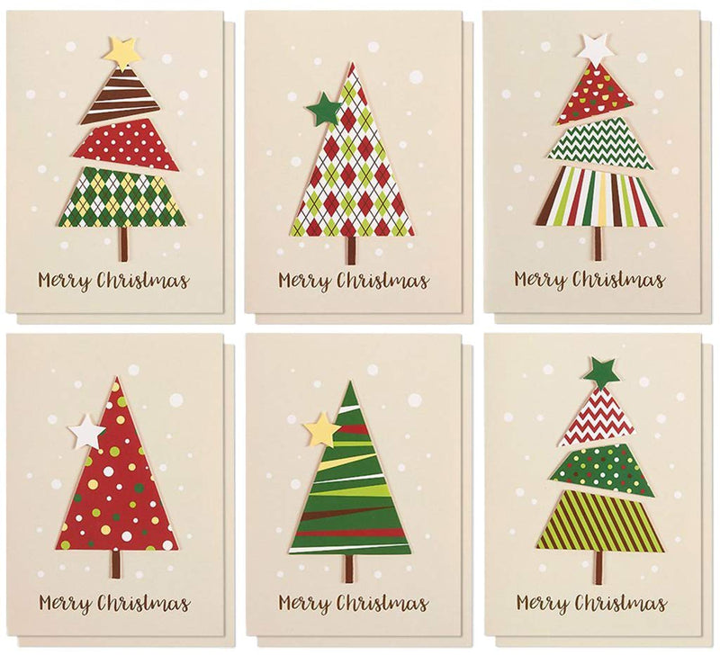 Set of 12 Merry Christmas Greetings Cards - Handmade Christmas Cards with Assorted Xmas Tree Themes - Includes White V-Flap Envelopes, 5 x 7 Inches
