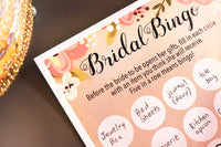 Floral Bridal Shower Games - Bingo, 50 Sheet Rustic Wedding Game Cards, Party Supplies for Bachelorette Party and Wedding, 50 Vintage Cards Included, 5 x 7 Inches, Beige
