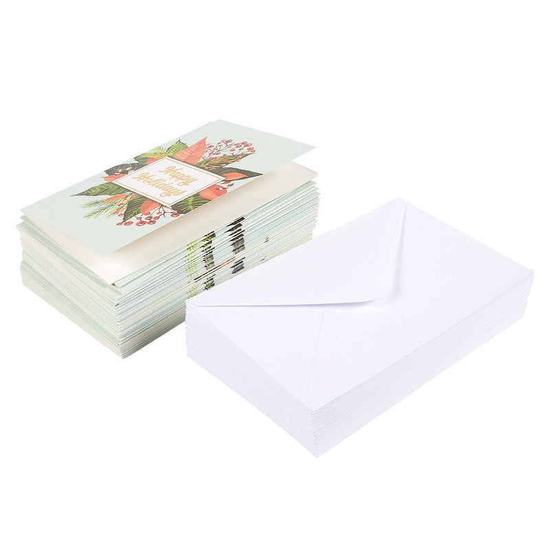 48-Pack Merry Christmas Greeting Cards Bulk Box Set - Winter Holiday Xmas Greeting Cards with Mistletoe Design and Gold Foil Accents, Envelopes Included, 4 x 6 Inches