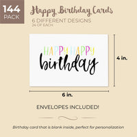 Sustainable Greetings 144-Pack Blank Happy Birthday Cards Bulk Box Set, 6 Assorted Designs, Envelopes Included, 4 x 6 Inches