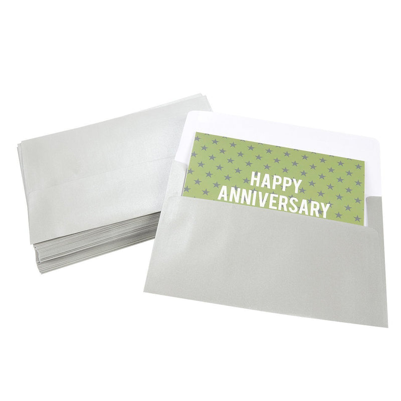 Juvale 50 Pack Metallic Silver A7 Envelopes for 5 x 7 Greeting Cards and Invitation Announcements - Value Pack Square Flap Envelopes - 5.25 x 7.25 Inches - 50 Count
