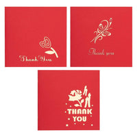 Set of 3 Thank You Greeting Cards - 3D Popup Cards with 3D Flower Themes - Includes Envelopes, 4.75 x 4.75 Inches