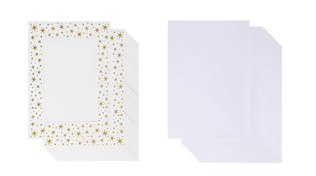 36-Pack Photo Insert Note Cards - Includes Paper Picture Frames Envelopes - Gold Stars Design Photo Mats, Photo Insert Greeting Cards, Holds 5 x 7 Inches Inserts