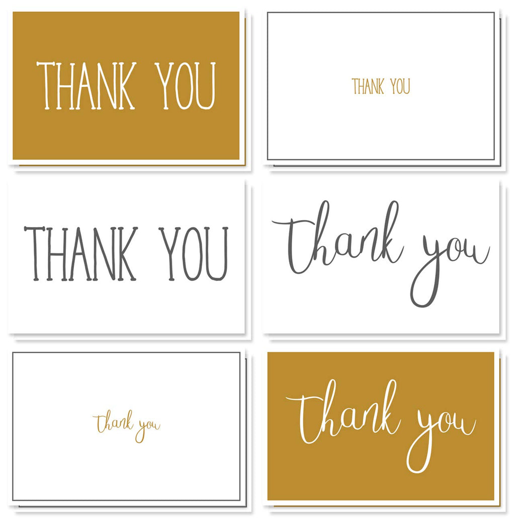 Thank You Cards - 48-Count Thank You Notes, Bulk Thank You Cards Set - Blank on The Inside, Black and Gold Elegant Designs- Includes Thank You Cards and Envelopes, 4 x 6 Inches