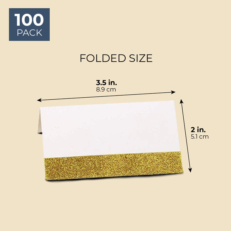 Sustainable Greetings 100-Pack Gold Glitter Tent Seating Place Cards, 2 x 3.5 Inches